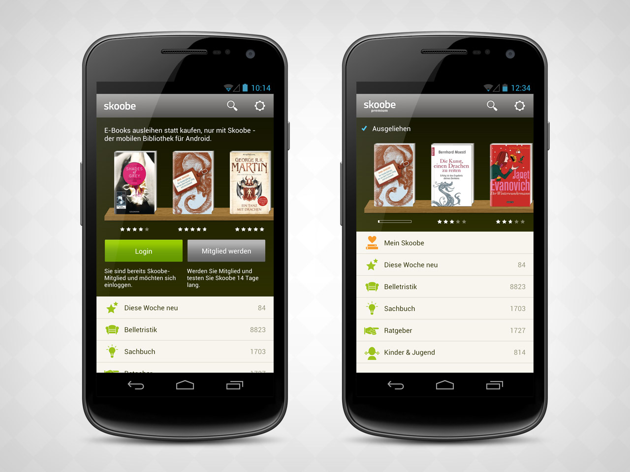 envis precisely / Projects / Skoobe Android App